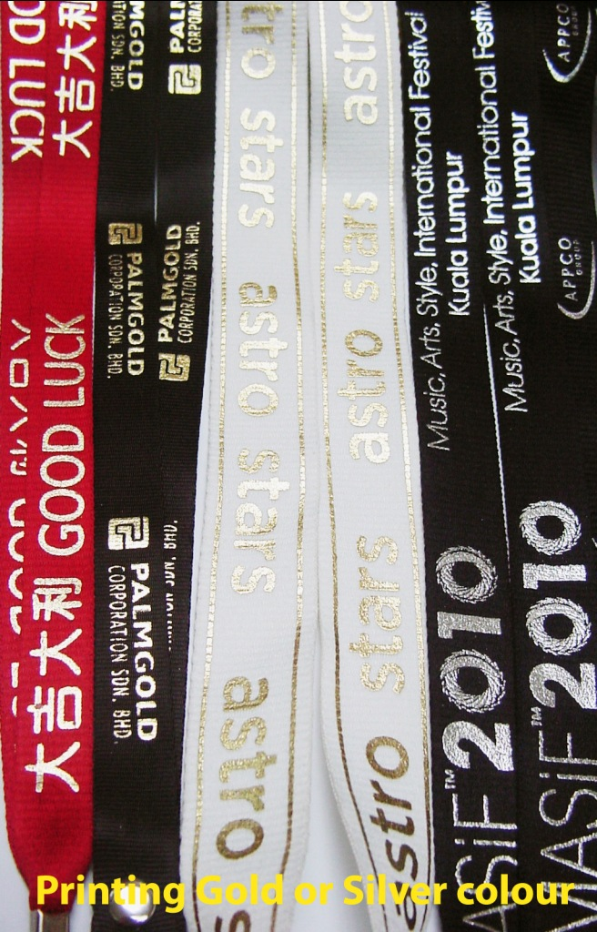 Printing Gold and Silver Colour Lanyard